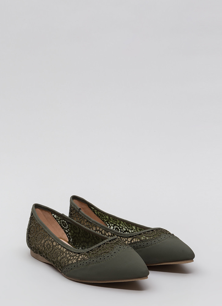 All In The Details Pointy Crochet Flats OLIVE