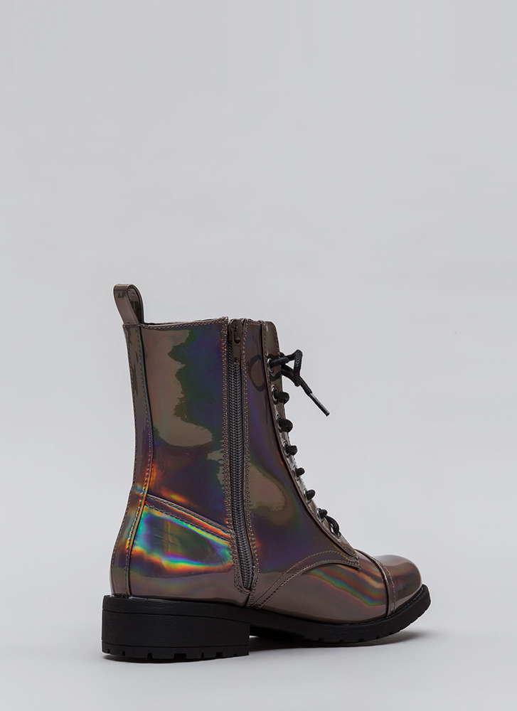 Fight Song Hologram Combat Boots PEWTER