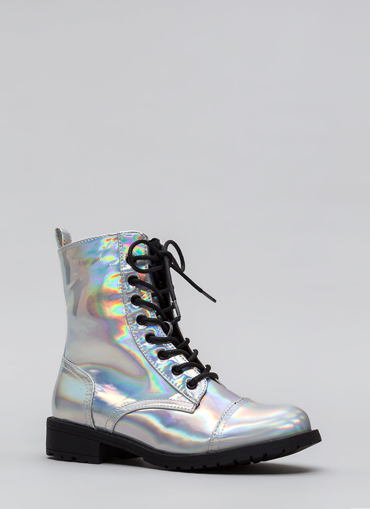 Fight Song Hologram Combat Boots SILVER