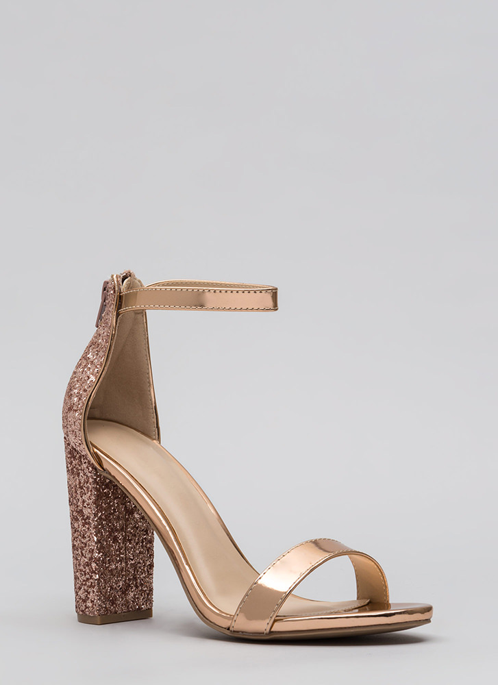 Walking Out Glittery Chunky Heels ROSEGOLD