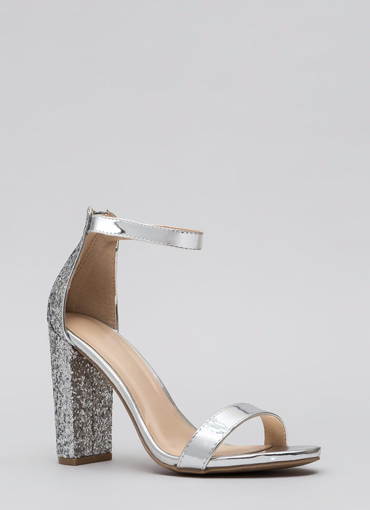 Walking Out Glittery Chunky Heels SILVER - GoJane.com