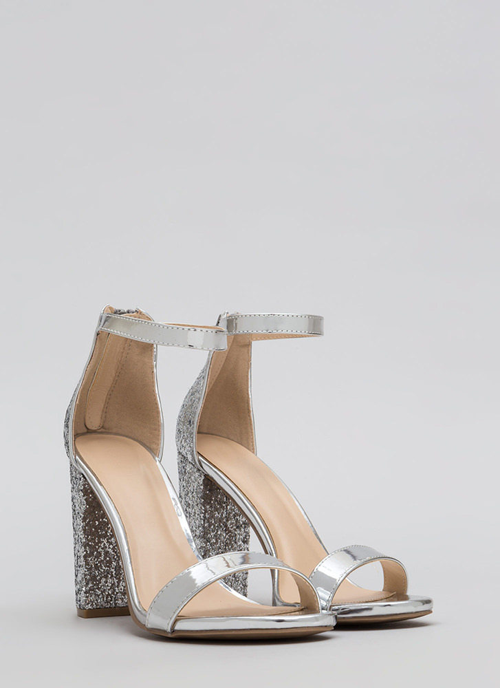 Walking Out Glittery Chunky Heels SILVER