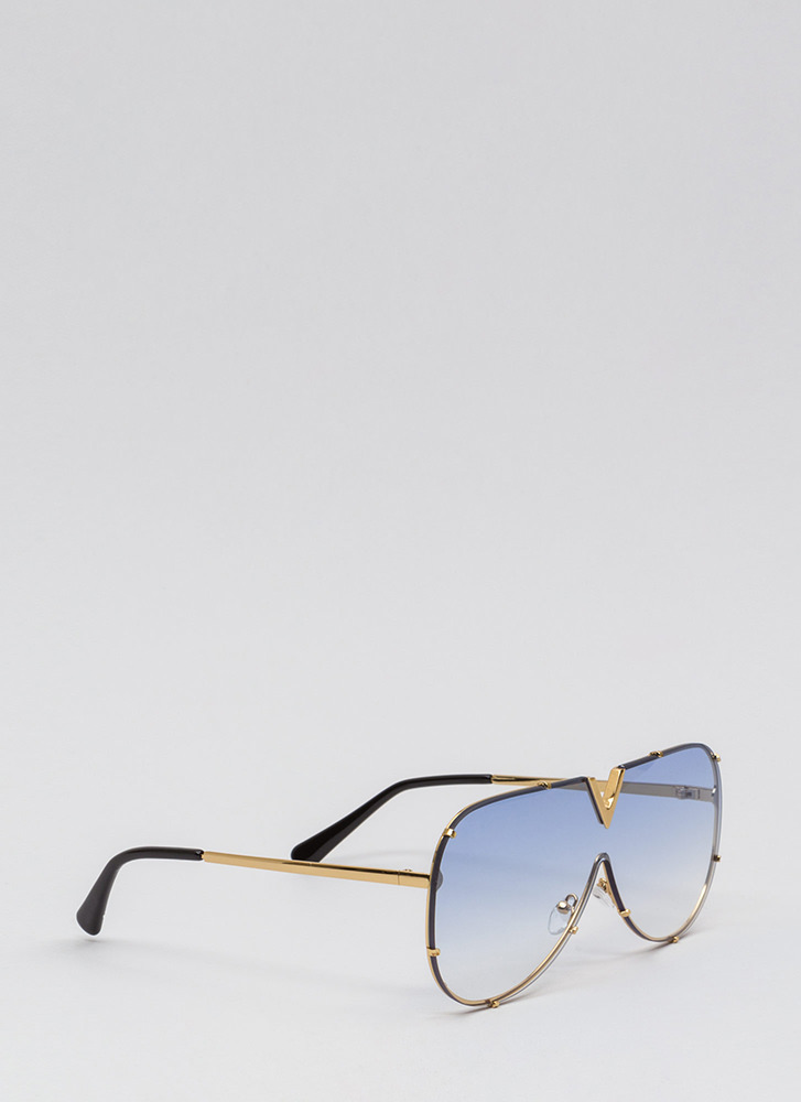 Let It V Known Aviator Sunglasses BLUEGOLD