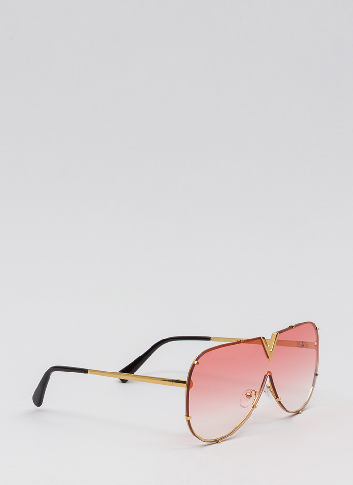 Let It V Known Aviator Sunglasses REDGOLD