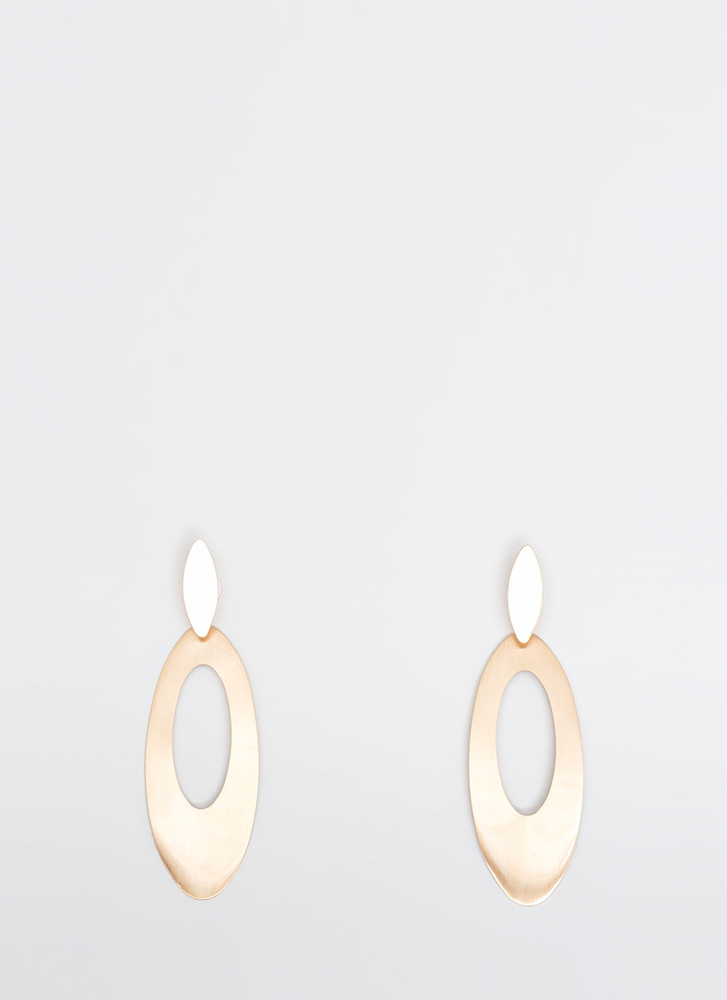 All Oval You Cut-Out Plate Earrings GOLD