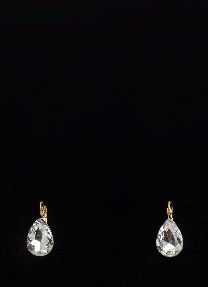 Easy Glam Faux Gem Droplet Earrings CLEAR