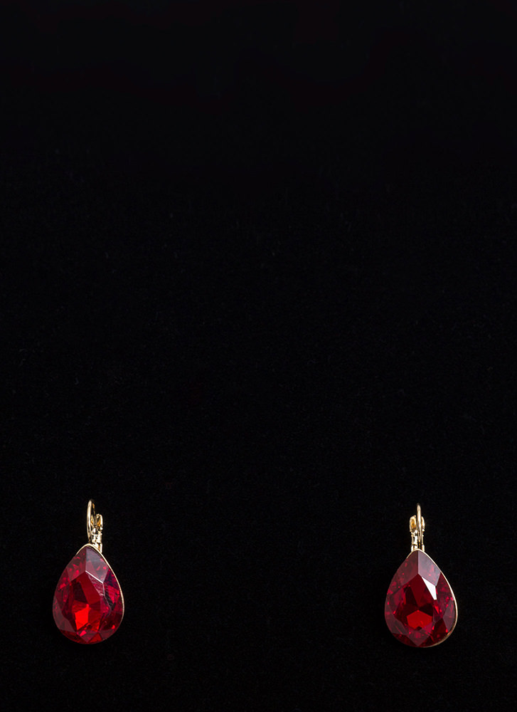 Easy Glam Faux Gem Droplet Earrings RED