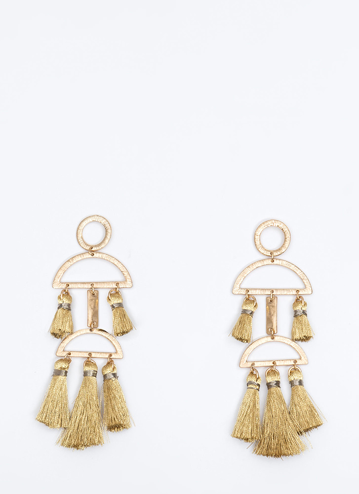 Staying Structured Tassel Earrings GOLD