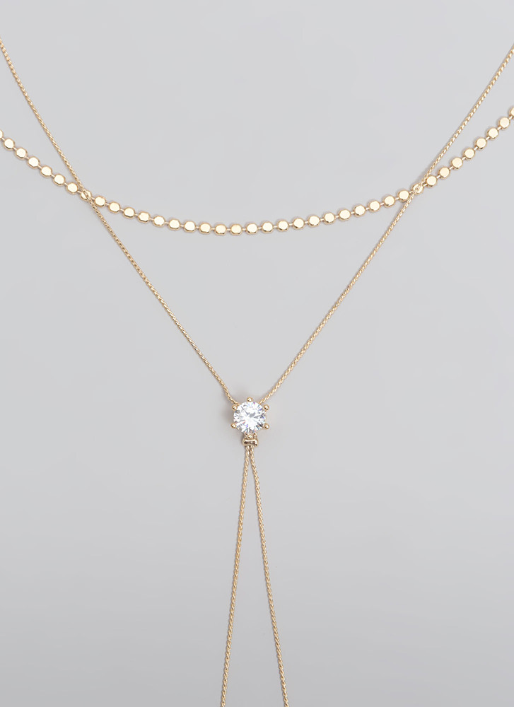 Lighten Up Layered Faux Diamond Necklace GOLD