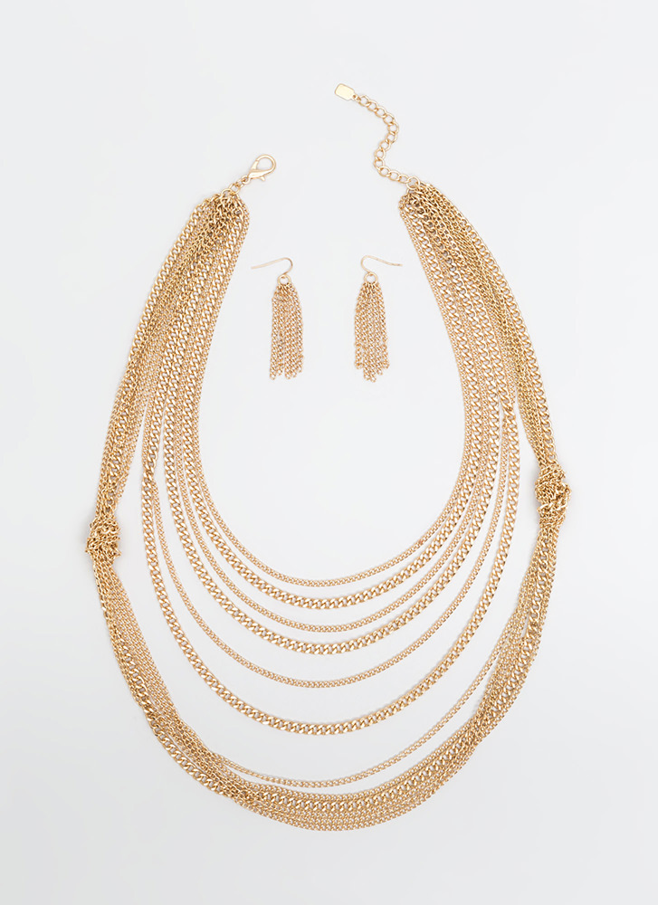 Knot Two Bad Draped Chain Necklace Set GOLD