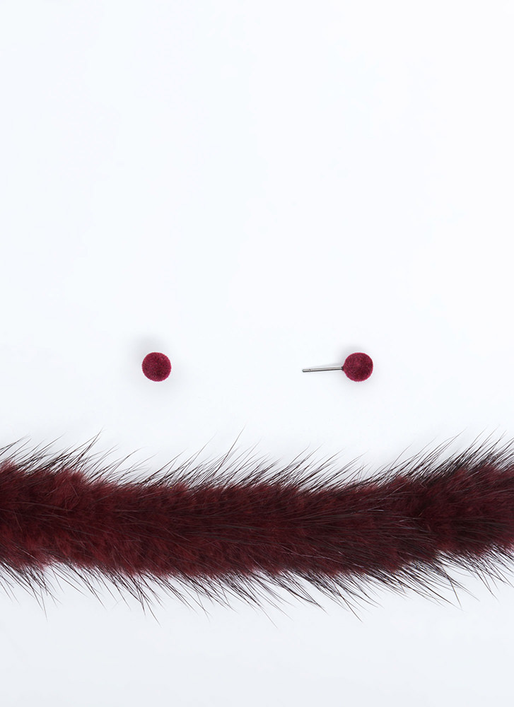 Fur The Love Of Chokers Necklace Set BURGUNDY