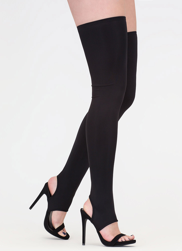 Get Shafted Strappy Thigh-High Heels BLACK