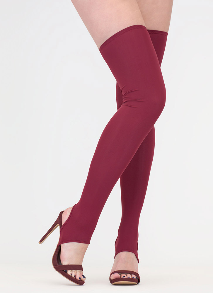 Get Shafted Strappy Thigh-High Heels WINE