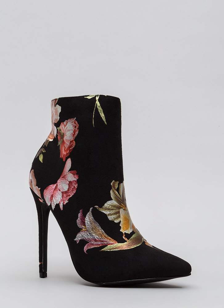Foil The Plan Pointy Floral Booties BLACK