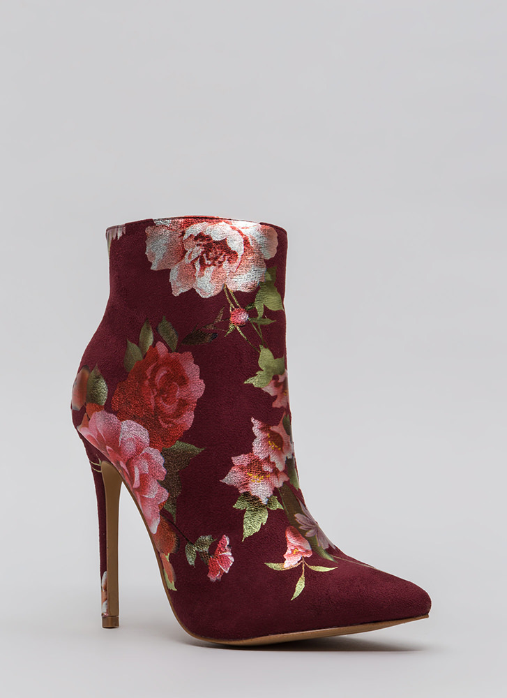 Foil The Plan Pointy Floral Booties WINE