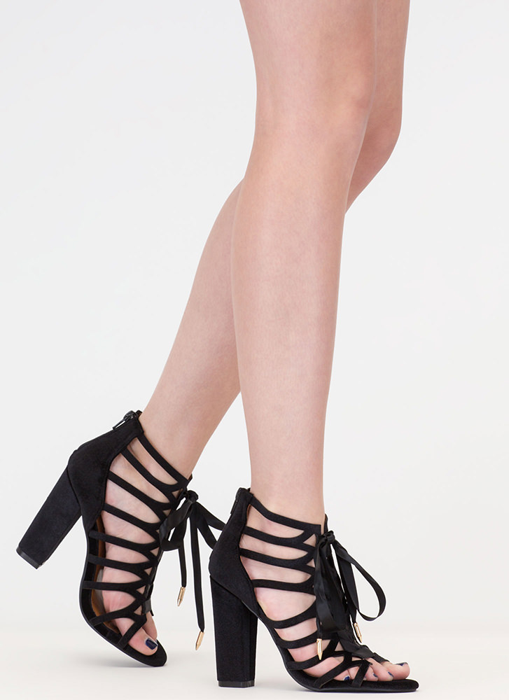 Caged To Perfection Chunky Lace-Up Heels BLACK