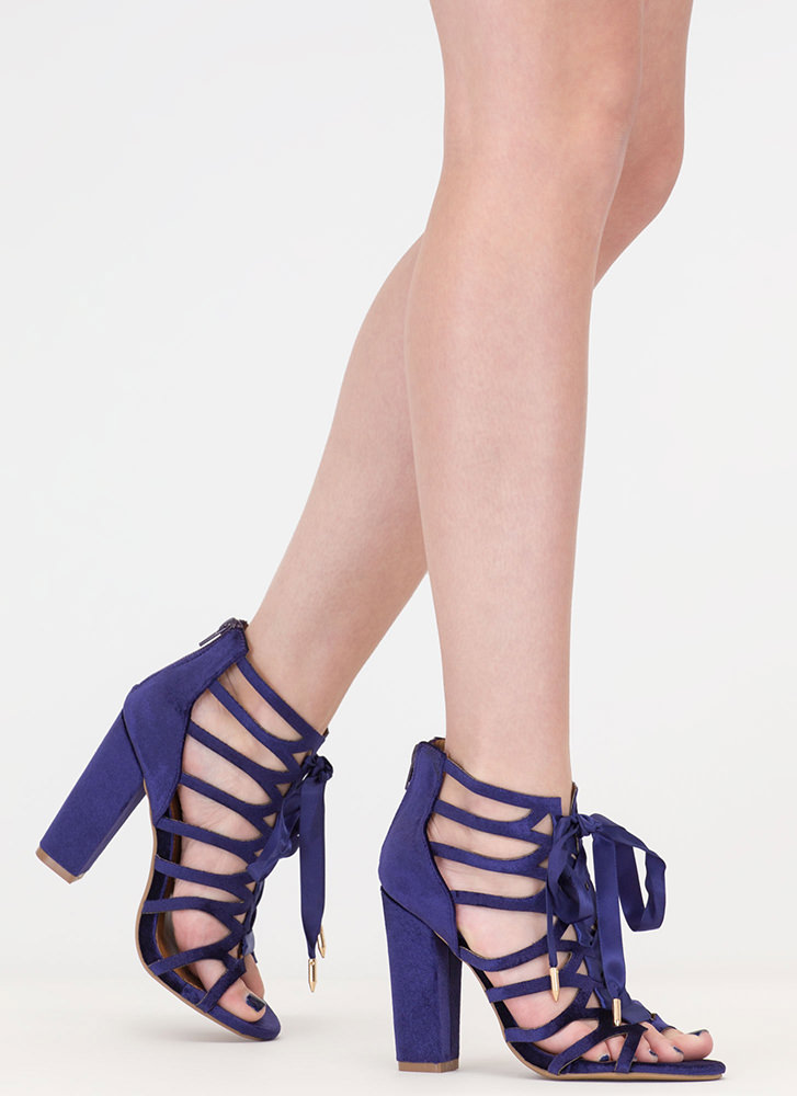 Caged To Perfection Chunky Lace-Up Heels PURPLE BLACK - GoJane.com