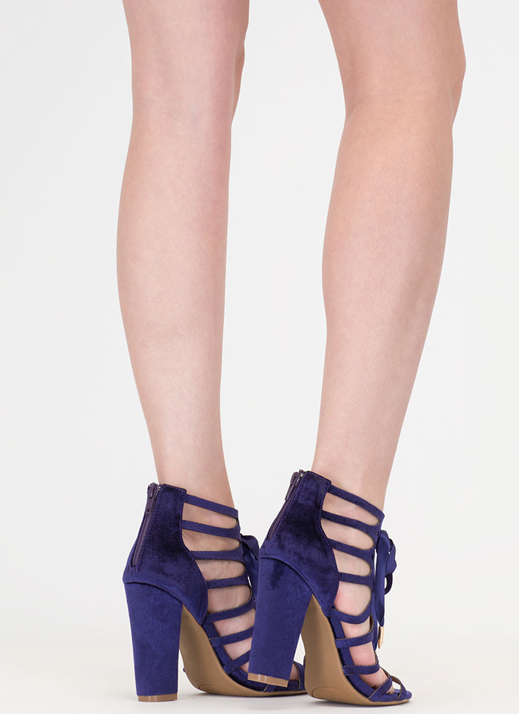 Caged To Perfection Chunky Lace-Up Heels PURPLE
