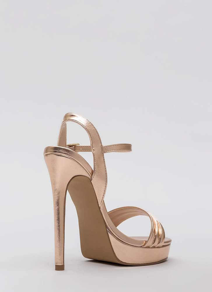 Just Say Pleats Metallic Platforms ROSEGOLD