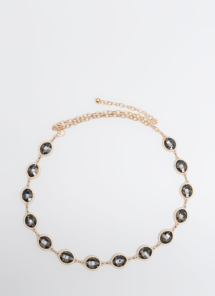 Oval The Moon Jeweled Chain Belt BLACKGOLD