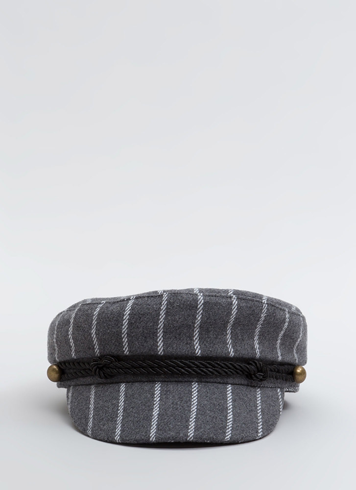Stripe The Right Cords Cabbie Cap GREY (You Saved $12)
