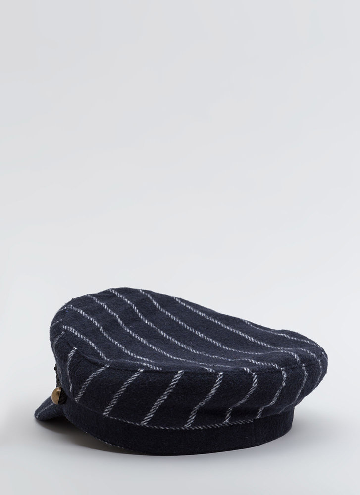 Stripe The Right Cords Cabbie Cap NAVY (You Saved $12)