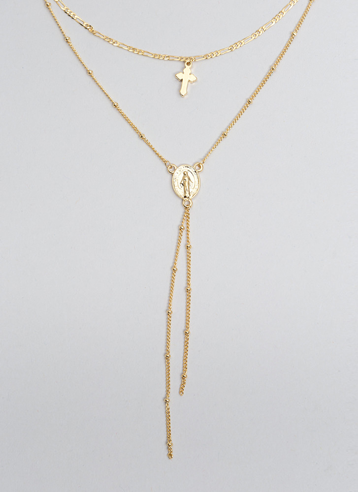 Worship Me Layered Cross Necklace GOLD