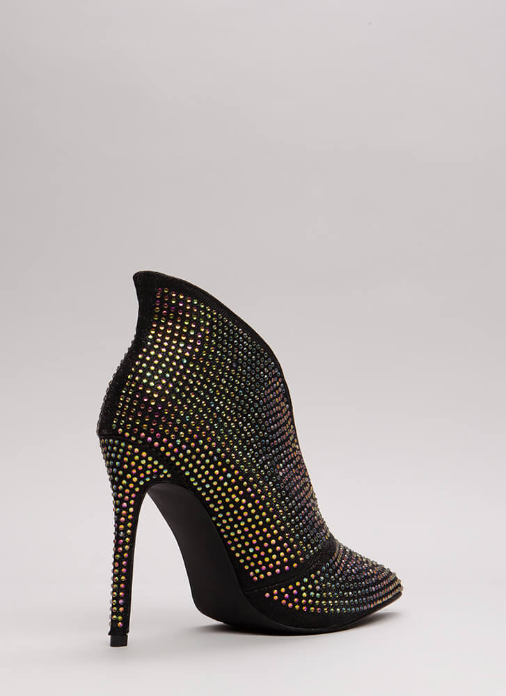 Glimmer Of Hope Jeweled Pointy Booties BLACK