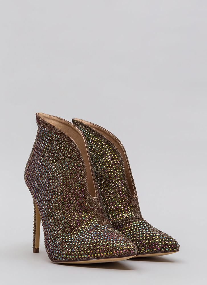 Glimmer Of Hope Jeweled Pointy Booties FUCHSIA