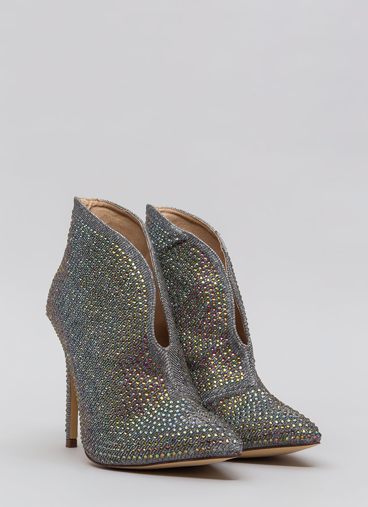 Glimmer Of Hope Jeweled Pointy Booties PEWTER