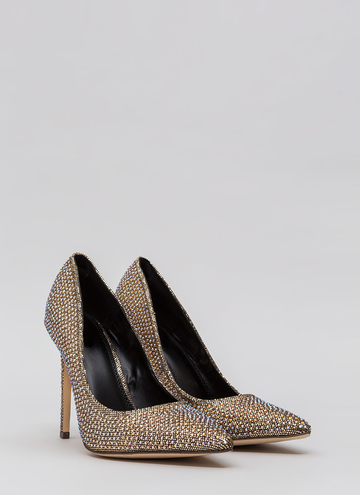 Glimmer Of Hope Jeweled Pointy Pumps GOLD