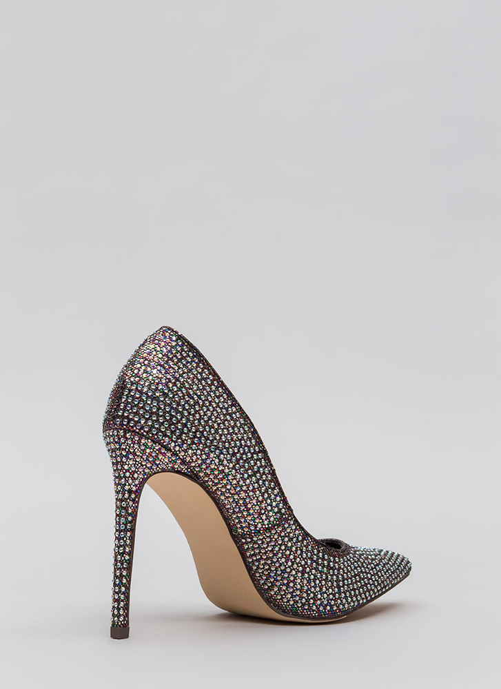 Glimmer Of Hope Jeweled Pointy Pumps SILVER (Final Sale)