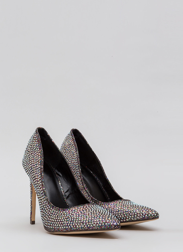 Glimmer Of Hope Jeweled Pointy Pumps SILVER