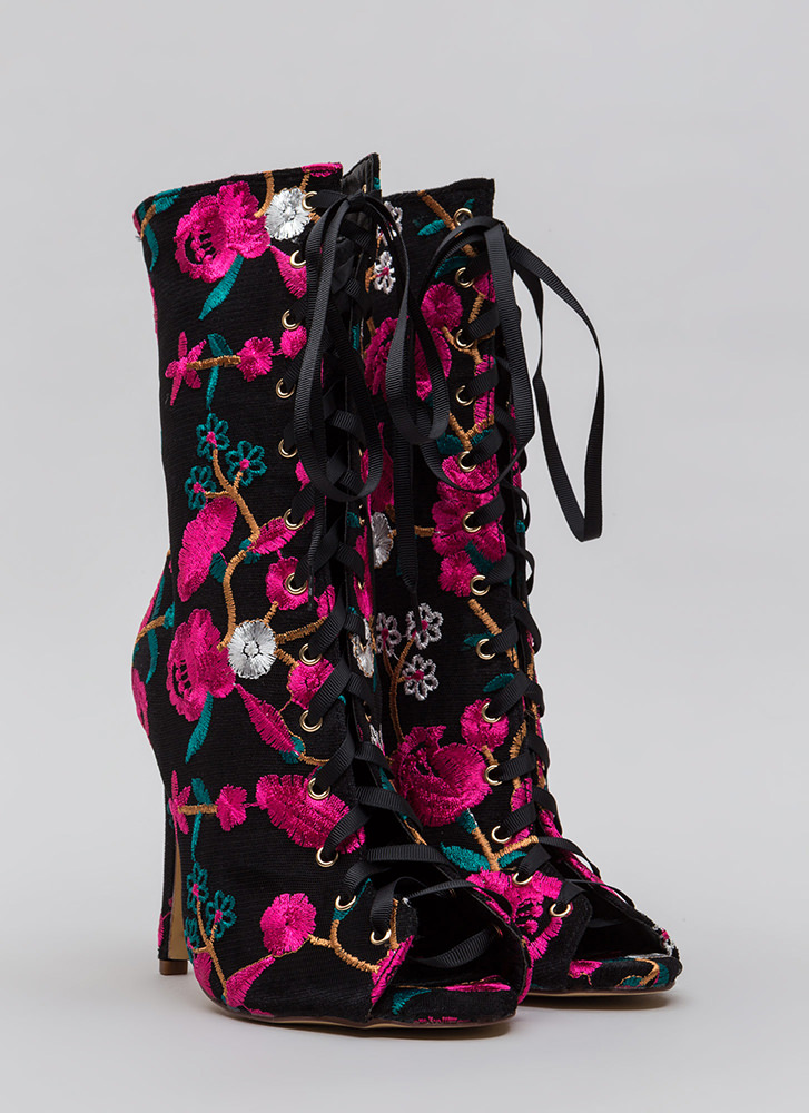 My Garden Embroidered Lace-Up Booties MULTI (Final Sale)