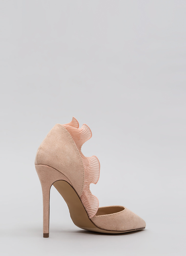 Lady In Court Ruffled Pointy Heels NUDE