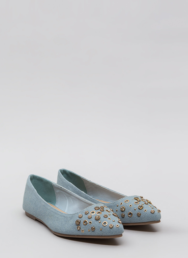 Do Embellish Studded Jeweled Denim Flats DENIM