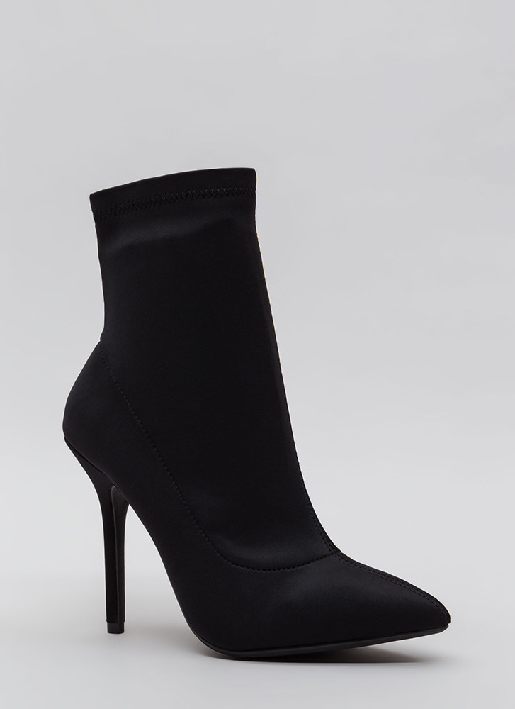 Find The One Pointy Lycra Booties BLACK