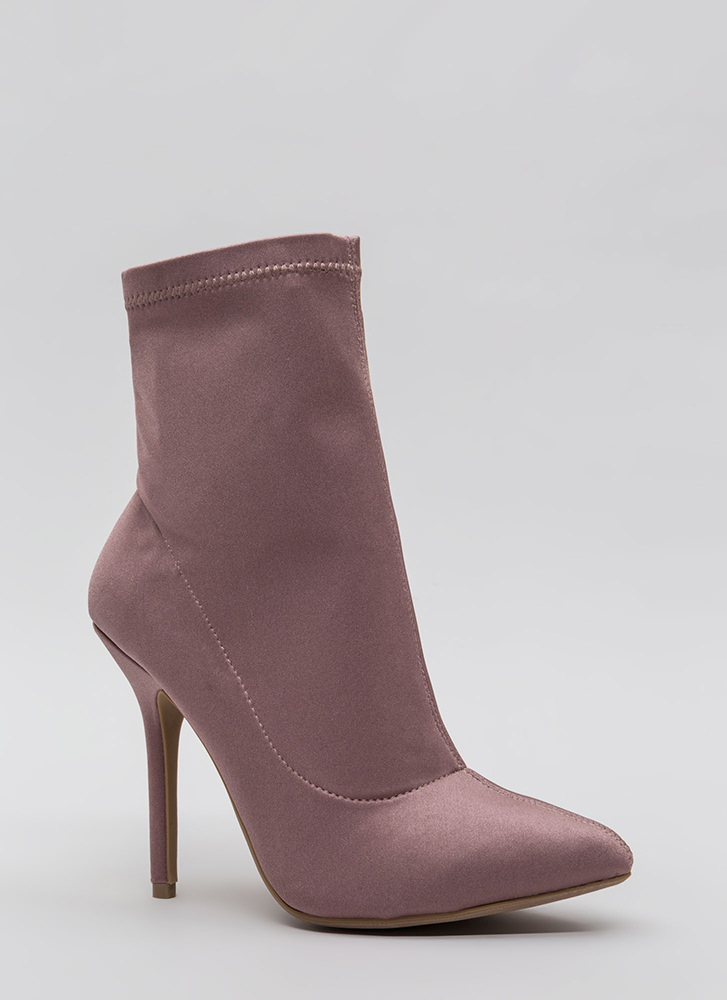 Find The One Pointy Lycra Booties MAUVE