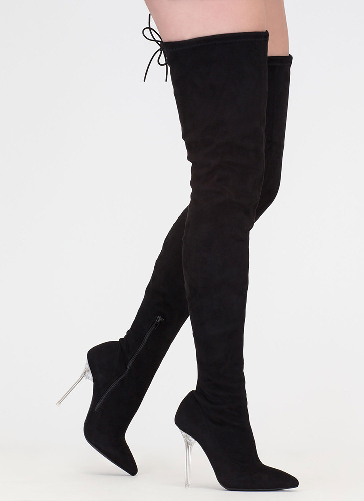 Hot Rod Tall Clear Heel Thigh-High Boots BLACK