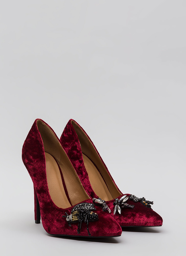 Bug Out Beaded Crushed Velvet Pumps RED