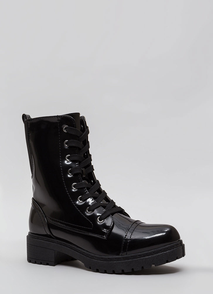 Fight For It Stretchy Combat Boots BLACK