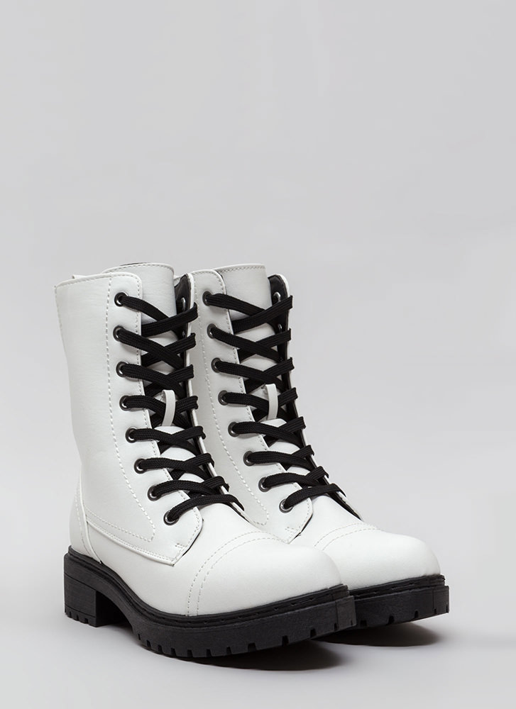 Fight For It Stretchy Combat Boots WHITE