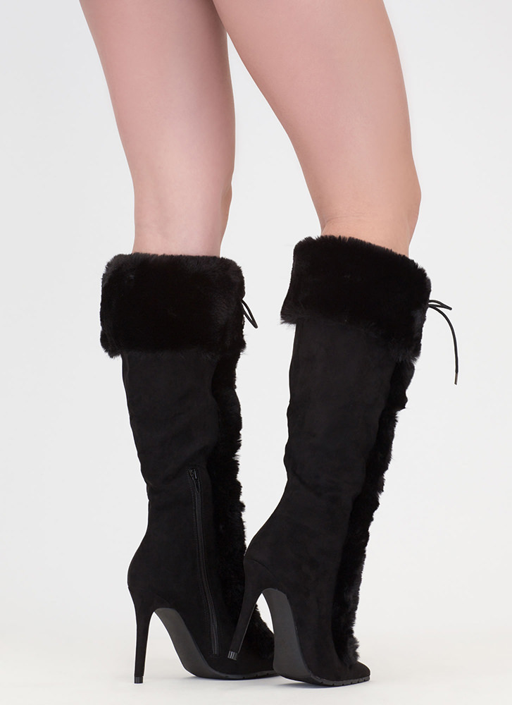 Fur Ever And Ever Pointy Lace-Up Boots BLACK