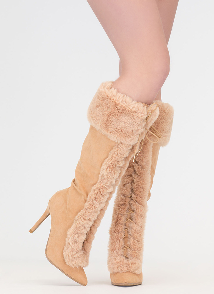 Fur Ever And Ever Pointy Lace-Up Boots TOFFEE