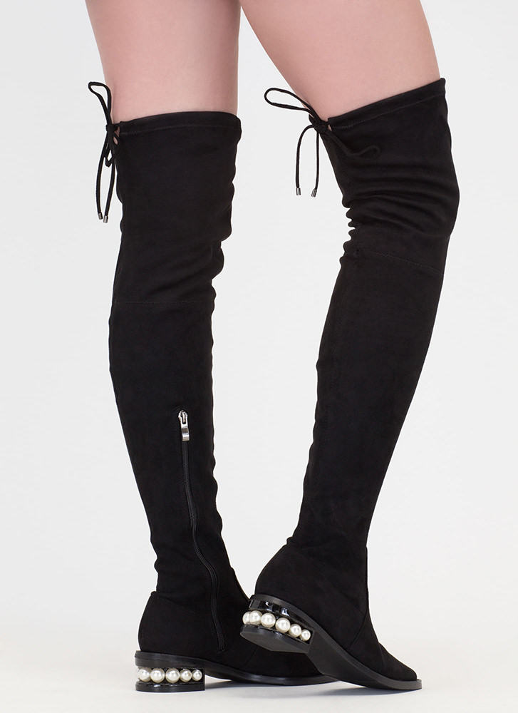 Pearl Interrupted Thigh-High Boots BLACK
