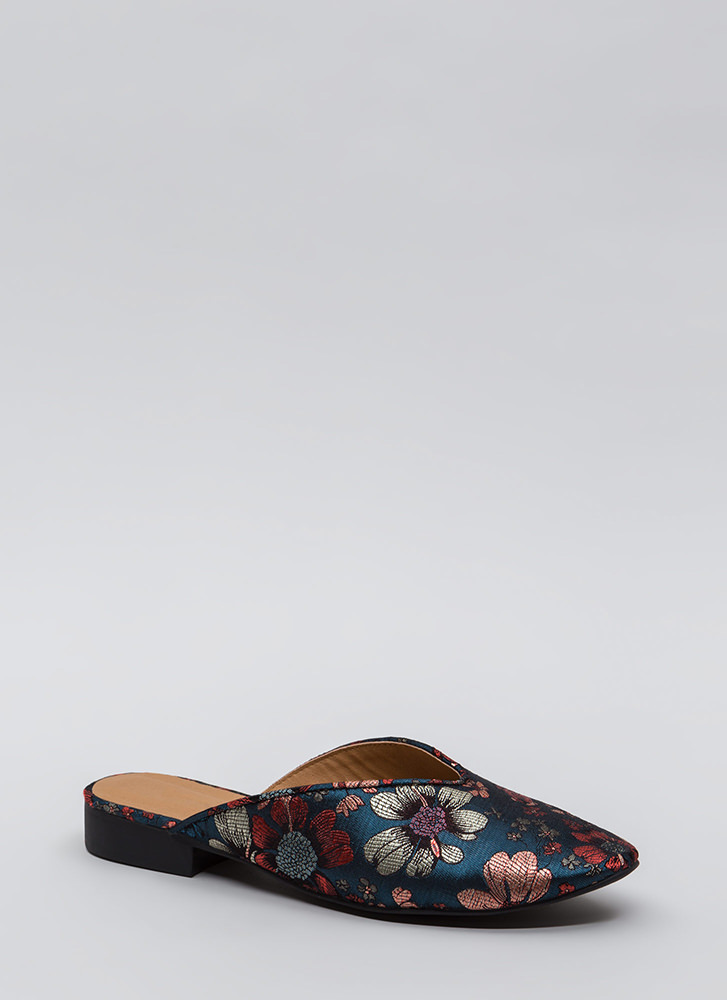 Let It V Known Embroidered Floral Flats BLUEMULTI
