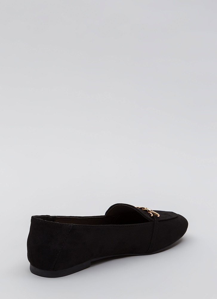 Form A Chain Faux Suede Loafer Flats BLACK