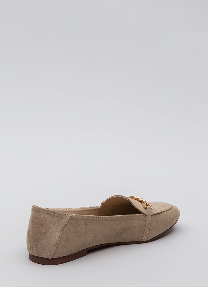 Form A Chain Faux Suede Loafer Flats LTTAUPE