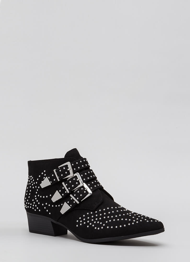 Three For All Studded Buckled Booties BLACK (Final Sale)