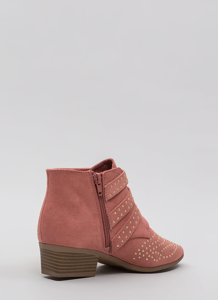 Three For All Studded Buckled Booties DUSTYROSE